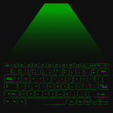 Virtual Laser Keyboard for PC with green buttons. Vector Stock Photo
