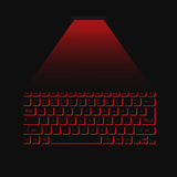 Virtual laser keyboard red on black background. Vector illustration Royalty Free Stock Photography