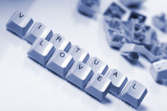 Virtual love. Computer keyboard letters virtual love stock photo