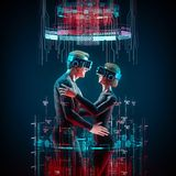 Virtual love concept. 3D illustration of male and female figures embracing wearing virtual reality glasses Royalty Free Stock Photography