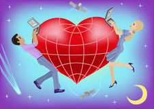 Virtual love. Illustration depicts a virtual love between a man and a woman Stock Photos