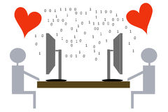 Virtual love - illustration Royalty Free Stock Photo