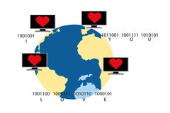 Virtual love - illustration Royalty Free Stock Photos