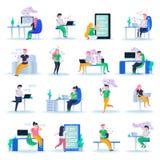Virtual Love Orthogonal Icons royalty free illustration