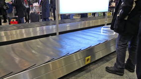 Virtual luggage. On the conveyor belt is moving animated baggage stock video footage