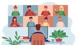 Virtual meeting. Man chatting with group people, online meetings remote working during coronavirus, internet webinar