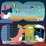 virtual and mixed reality vector illustration