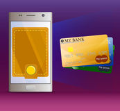 Virtual mobile banking and three bank cards Stock Photos