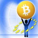 Virtual money Bitcoin cryptocurrency - Bitcoins accepted here. Figure with logo and european union symbols Royalty Free Stock Image