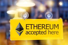 Virtual money Ethereum cryptocurrency - Ethereum ETH currency stock photography