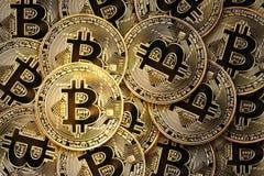 Virtual Money Gold Coins Bitcoin. Royalty Free Stock Image