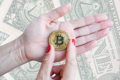 Virtual money golden bitcoin women hand with red nails fingers on white background stock photography