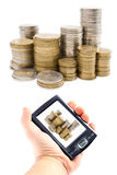 Virtual money in a handheld stock photo