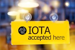 Virtual money IOTA cryptocurrency - Iota MIOTA currency accep royalty free stock images