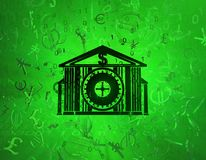 Virtual Money Vault. Money several currencies security vault, cyberspace green virtual reality abstract 3d illustration, horizontal Royalty Free Stock Images