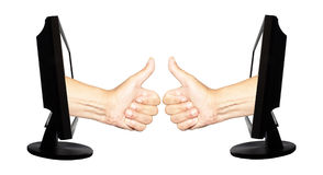 Virtual number one - internet business concept - team work success Stock Photography