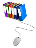 Virtual office. Remote access of office work, documents, files and email concept of virtual office, files connected to a mouse on white background Royalty Free Stock Photo