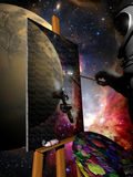 Virtual painting. With a palette, on a painting put on an easel, a cosmonaut is painting the magnificent view of the space near him Stock Image