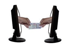 Virtual payment by internet - internet business concept - team work success Stock Photo