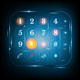 Virtual phone keyboard or keypad.dialing template. With numbers Stock Images