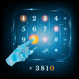 Virtual phone keyboard or keypad and hand pointer. Dialing Stock Photography