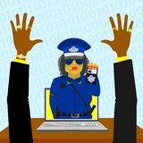 Virtual woman police Stock Images
