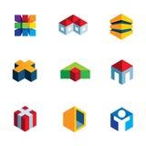 Virtual real estate house building construction logo innovation icon set Stock Photo