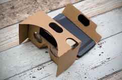 Virtual reality cardboard glasses. Easy way to watch movies in 3 Stock Images