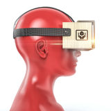 Virtual reality cardboard headset on color female plastic mannequin head, high quality isolated render Royalty Free Stock Photography