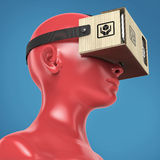 Virtual reality cardboard headset on color female plastic mannequin head, high quality isolated render Royalty Free Stock Image