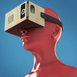 Virtual reality cardboard headset on color female plastic mannequin head, high quality  render Royalty Free Stock Photo