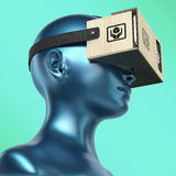 Virtual reality cardboard headset on color female plastic mannequin head, high quality  render Royalty Free Stock Image