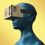 Virtual reality cardboard headset on color female plastic mannequin head, high quality  render Stock Images