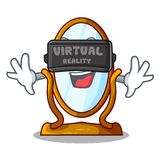 Virtual reality cartoon big antique mirror in frame. Vector illustration vector illustration