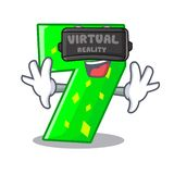 Virtual reality cartoon number seven on stone wall. Vector illustration royalty free illustration