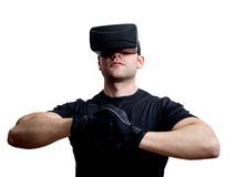 Virtual reality champion gamer ready to fight in cyberspace Royalty Free Stock Image