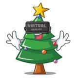 With virtual reality Christmas tree character cartoon. Vector illustration Stock Photos