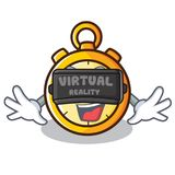 With virtual reality chronometer character cartoon style Royalty Free Stock Image