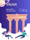 Virtual reality club vertical banner template with young female and male gamers royalty free stock photography