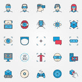 Virtual reality colorful icons Royalty Free Stock Photos