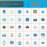 Virtual reality colorful solid icons set. Innovation technologies, AR glasses, Head-mounted display, VR gaming device. Modern flat Stock Photo