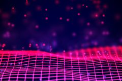 Virtual reality concept: 3D Neon digital wireframe grid with floating particles. stock illustration