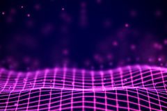 Virtual reality concept: 3D Red digital wireframe grid with floating particles. royalty free illustration