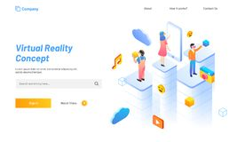 Virtual Reality concept based landing page design, people with s Royalty Free Stock Photography