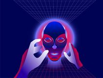 Virtual reality concept, cyberpunk girl character in futuristic 3d space. Vector illustration. Stock Photography