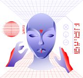 Virtual reality concept, cyberpunk girl character in futuristic 3d space. Vector illustration. Royalty Free Stock Photo