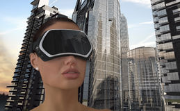 Virtual Reality Concept. 3D Illustration of a Woman wearing a Virtual reality head-mounted display (HMD stock photos