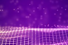 Virtual reality concept: 3D Pink digital wireframe grid with floating particles. vector illustration