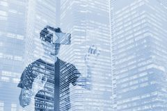 Virtual reality concept, double exposure, digital VR glasses royalty free stock images