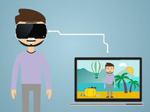 Virtual reality concept in flat style. VR gaming. Man wearing gl Royalty Free Stock Photos